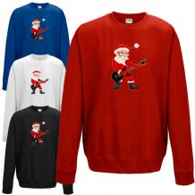 Rock Star Santa Sweatshirt - Funny Father Christmas Rocking Claus Gift Jumper